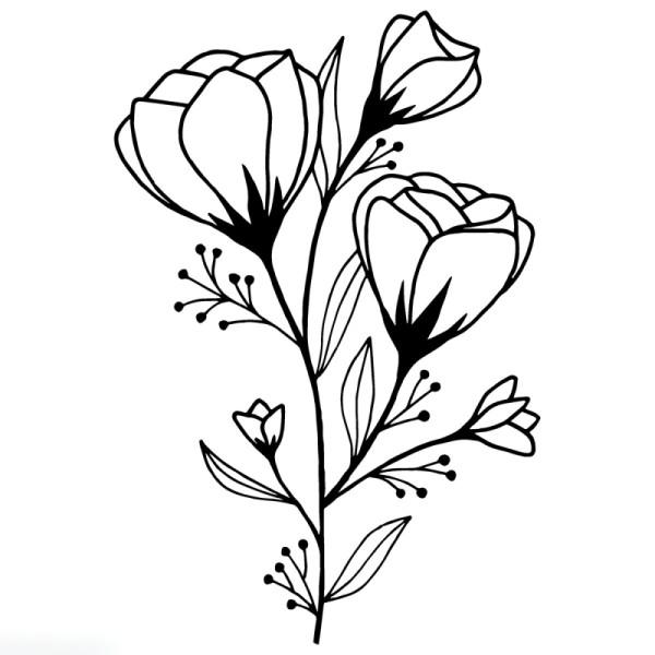 Tampon Bois Good Vibes Artemio - Fleur sauvage - 5 x 7 cm - Photo n°1