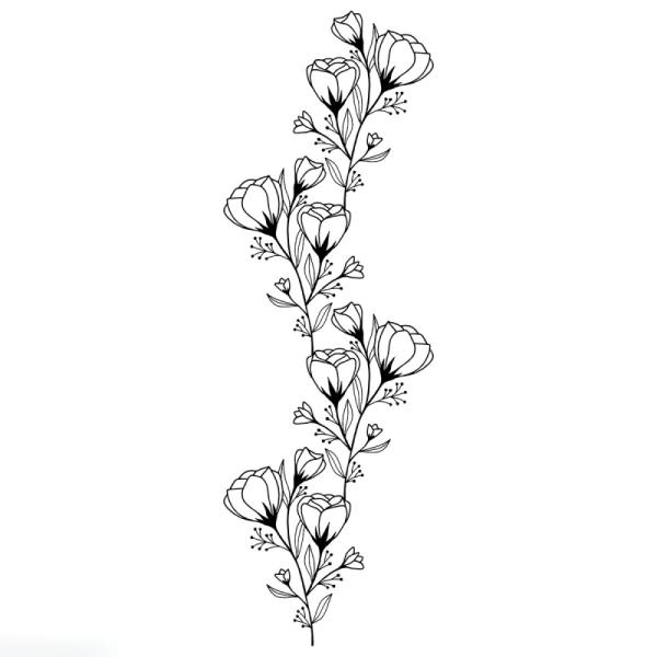 Tampon Bois Good Vibes Artemio - Frise de fleurs - 3,7 x 10 cm - Photo n°1