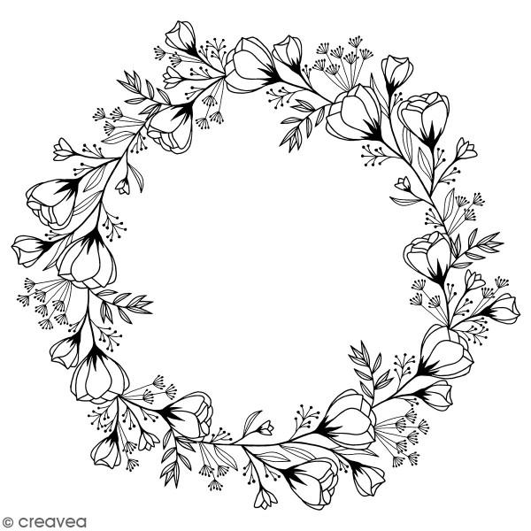 Tampon Bois Good Vibes Artemio - Couronne de fleurs - 10 x 10 cm - Photo n°1