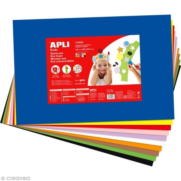Feuille de mousse 2 mm - Assortiment multicolore - 10 feuilles 40 x 60 cm - Photo n°1