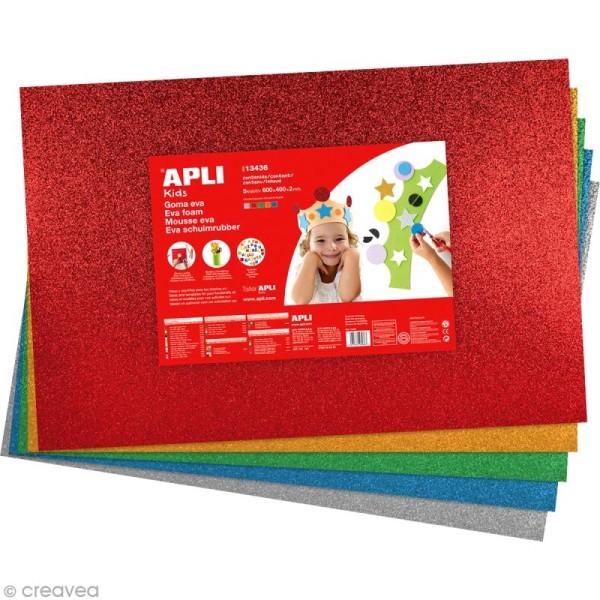 Feuille de mousse 2 mm - Assortiment multicolore pailleté - 5 feuilles 40 x 60 cm - Photo n°1