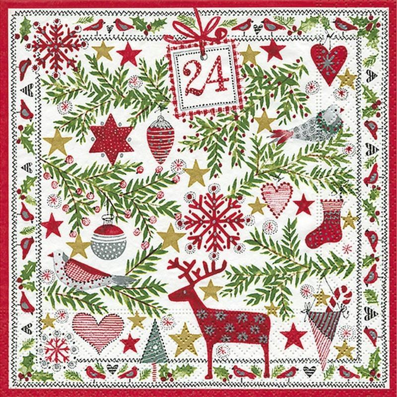 lot de 20 serviettes en papier motif d coration de no l 33 x 33 cm d co hivernale serviette. Black Bedroom Furniture Sets. Home Design Ideas