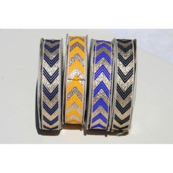 Galon ethnique bleu de 2 cm de large, ruban indien. - Photo n°2