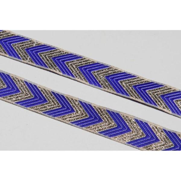 Galon ethnique bleu de 2 cm de large, ruban indien. - Photo n°1