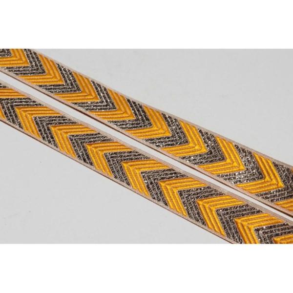 Galon ethnique jaune de 2 cm de large, ruban indien. - Photo n°1