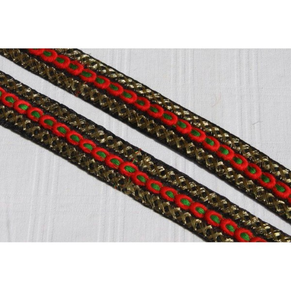Galon ethnique de 30 mm de large, ruban indien noir. - Photo n°1