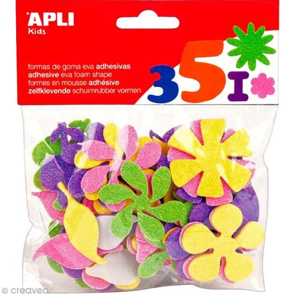 Formes adhésives Fleurs pailletées en Feuille de mousse - 48 pcs - Photo n°1