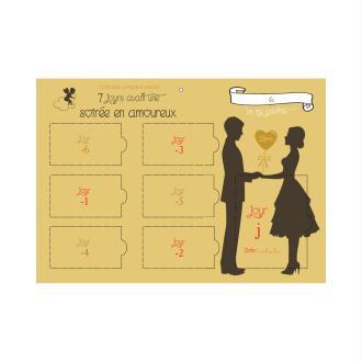 Calendrier compte à rebours 7 jours avant une soirée en amoureux