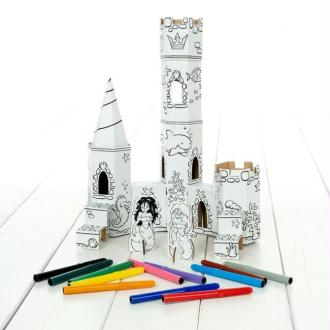 Palais Sirènes en carton à colorier - 12 feutres inclus - Calafant
