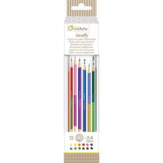 Tube de 12 crayons double pointes 24 couleurs Avenue Mandarine