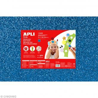 Feuille de mousse 2 mm - Bleu pailleté - 3 feuilles 40 x 60 cm