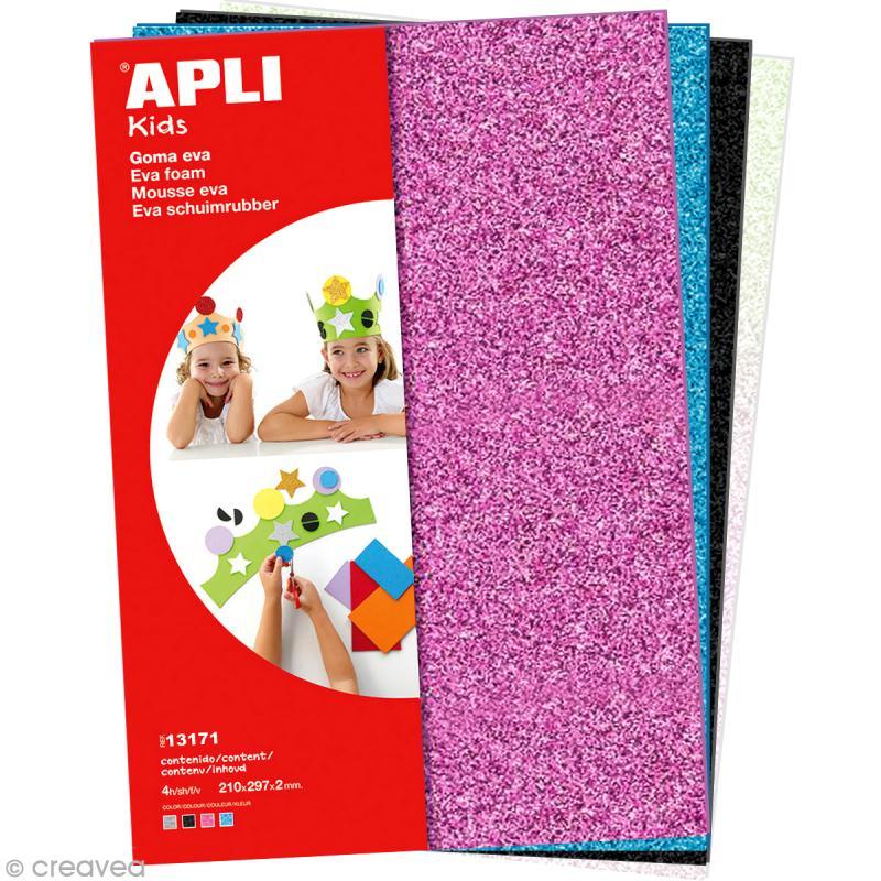 feuille de mousse 2 mm assortiment de feuilles paillet es 4 feuilles a4 assortiment. Black Bedroom Furniture Sets. Home Design Ideas