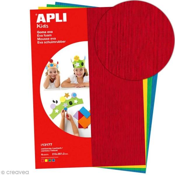 Feuille de mousse effet serviette - Assortiment multicolore - 4 feuilles A4 - Photo n°1