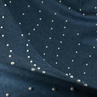 Tissu jean avec perles nacrées - Bleu brut - A la coupe