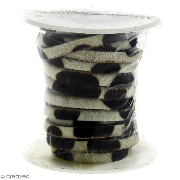 Cordon cuir 5 mm plat avec poils - Tâches noires - Au mètre (sur mesure) - Photo n°1