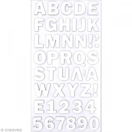 Stickers Alphabet & Chiffres en Carton Blanc - 2 mm - 88 pcs - Photo n°1