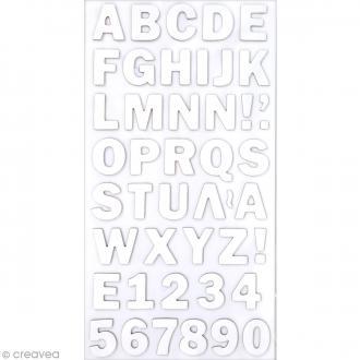 Stickers Alphabet & Chiffres en Carton Blanc - 2 mm - 88 pcs