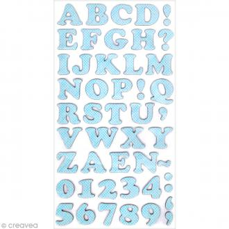 Stickers Alphabet & Chiffres en Carton Bleu ciel - 2 mm - 99 pcs