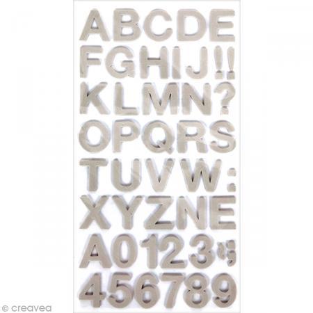 Stickers Alphabet & Chiffres en Mousse Gris - 3 mm - 104 pcs - Photo n°1