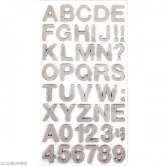 Stickers Alphabet & Chiffres en Mousse Gris - 3 mm - 104 pcs