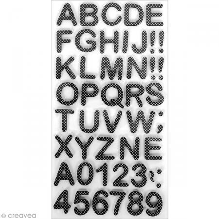 Stickers Alphabet & Chiffres en Mousse Noir & blanc - 3 mm - 105 pcs - Photo n°1