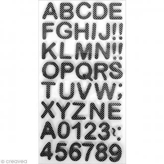 Stickers Alphabet & Chiffres en Mousse Noir & blanc - 3 mm - 105 pcs