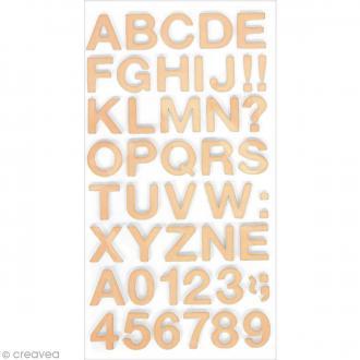 Stickers Alphabet & Chiffres en Mousse Rose saumon - 3 mm - 104 pcs