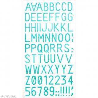 Stickers Alphabet & Chiffres en Résine Bleu turquoise - 0,1 mm - 150 pcs