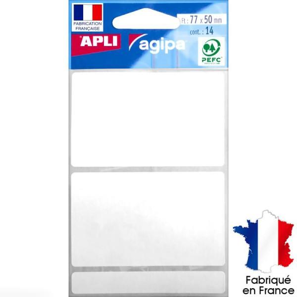 Stickers étiquettes Rectangulaires Blanc - 7,7 x 5 cm - 14 pcs - Photo n°1