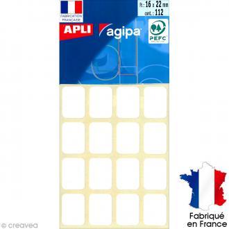 Stickers étiquettes Rectangulaires Blanc - 2,2 x 1,6 cm - 112 pcs
