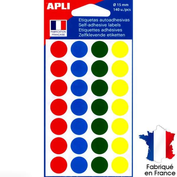 Gommettes rondes multicolore - 1,5 cm - 140 pcs - Photo n°1