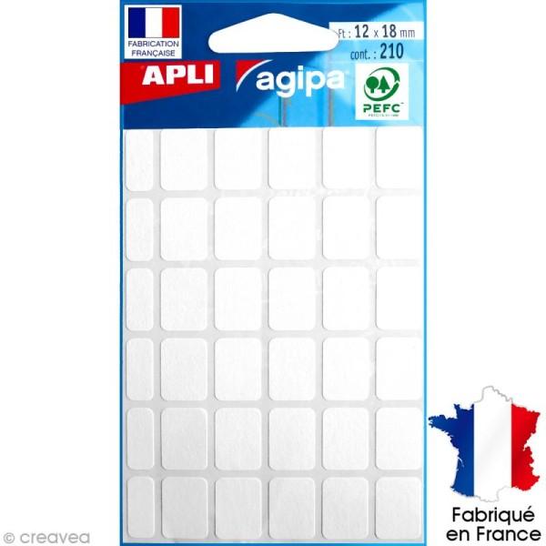 Stickers étiquettes Rectangulaires Blanc - 1,2 x 1,8 cm - 210 pcs - Photo n°1