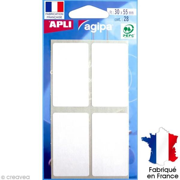 Stickers étiquettes Rectangulaires Blanc - 3 x 5,5 cm - 28 pcs - Photo n°1
