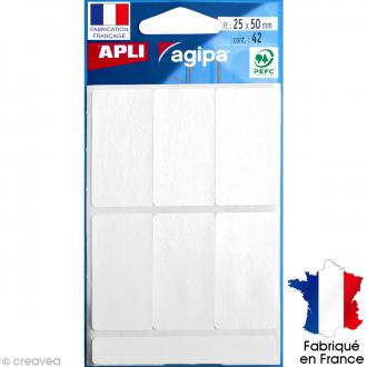 Stickers étiquettes Rectangulaires Blanc - 2,5 x 5 cm - 42 pcs
