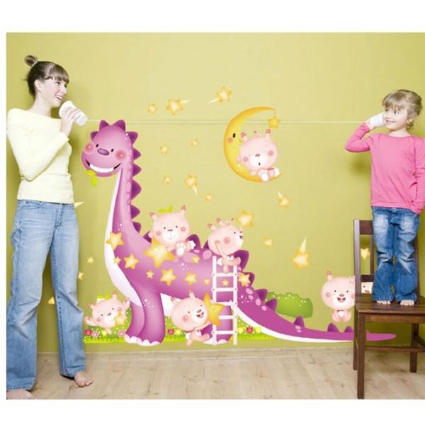 Sticker adhésif dinosaure et bébés (173 x 150 cm) - Photo n°1