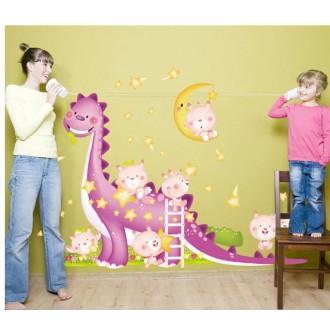 Sticker adhésif dinosaure et bébés (173 x 150 cm)
