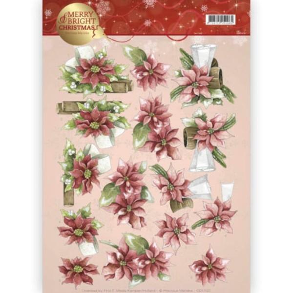 Carte 3D à découper - CD11121 - Merry and Bright Christmas - Poinsettias de Noël - Photo n°1