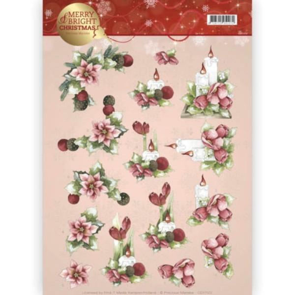 Carte 3D à découper - CD11122 - Merry and Bright Christmas - Bougies de Noël - Photo n°1