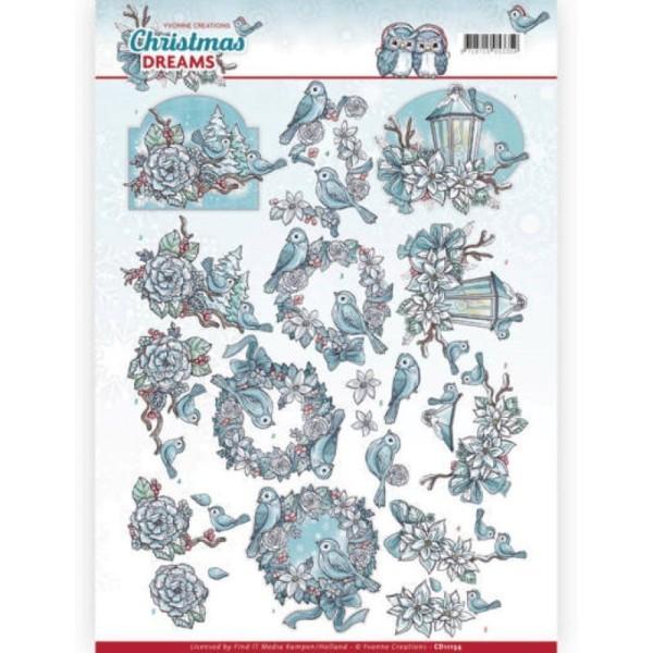 Carte 3D à découper - CD11134 - Christmas Dreams - OIseaux à Noël - Photo n°1