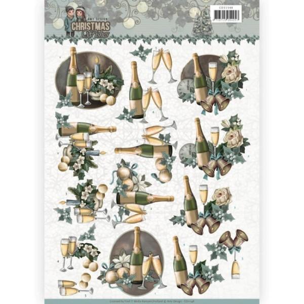 Carte 3D à découper - CD11148 - Christmas wishes - Champagne à Noël - Photo n°1