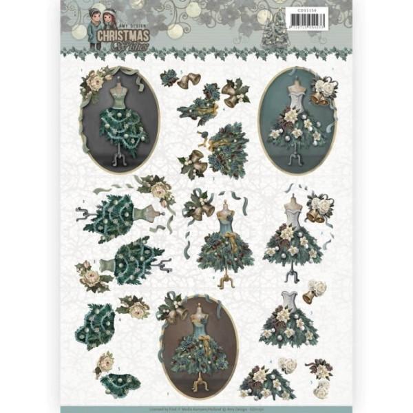 Carte 3D à découper - CD11150 - Christmas wishes - Robes de Noël - Photo n°1