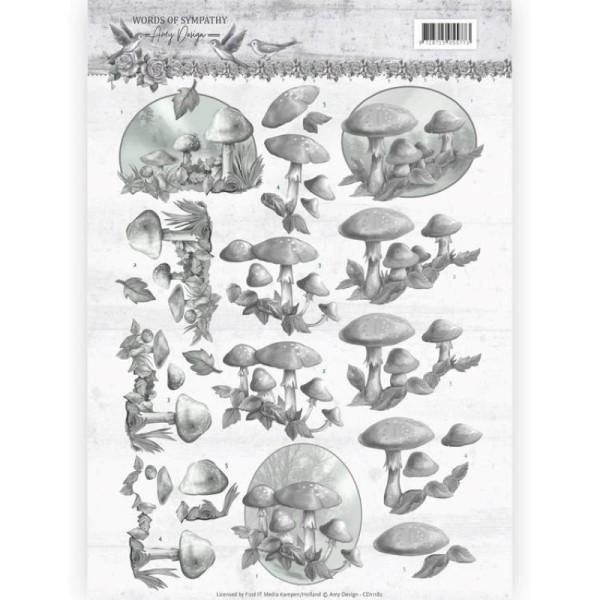 Carte 3D à découper - CD11197 - Words of Sympathy - Champignons gris - Photo n°1