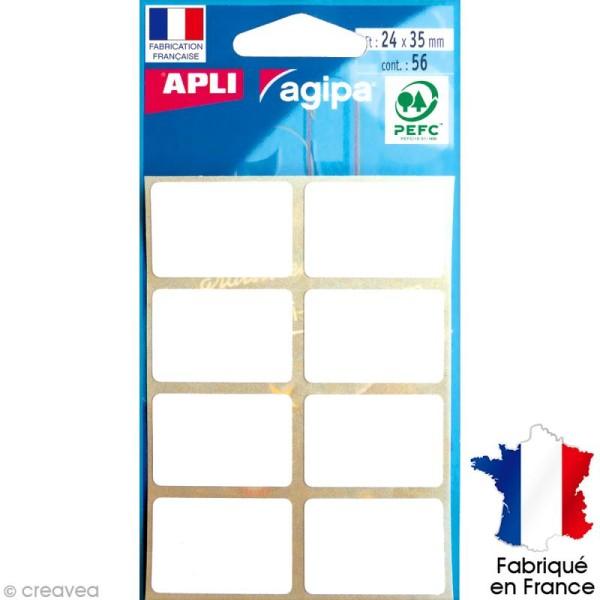 Stickers étiquettes Rectangulaires Blanc - 2,4 x 3,5 cm - 56 pcs - Photo n°1