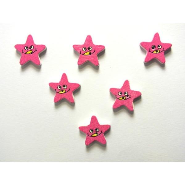 LOT 6 BOUTONS BOIS : etoile rose motif visage 15mm - Photo n°1