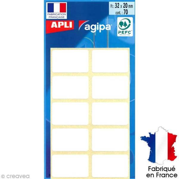 Stickers étiquettes Rectangulaires Blanc - 3,2 x 2 cm - 70 pcs - Photo n°1