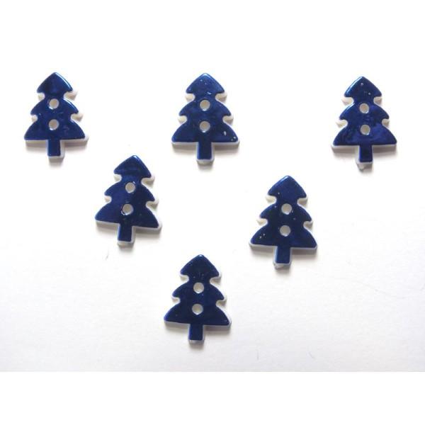 LOT 6 BOUTONS :  sapin bleu  17mm - Photo n°1