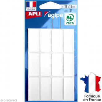 Stickers étiquettes Rectangulaires Blanc - 3,5 x 1,5 cm - 84 pcs