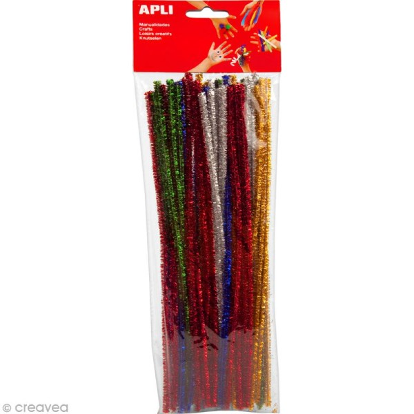 Fil chenille Multicolore brillant - 30 cm - 50 pcs - Photo n°1