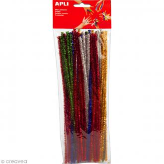 Fil chenille Multicolore brillant - 30 cm - 50 pcs