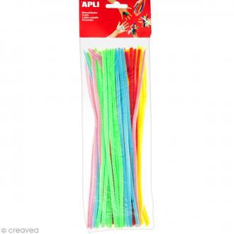 Fil chenille Multicolore fluo - 30 cm - 50 pcs